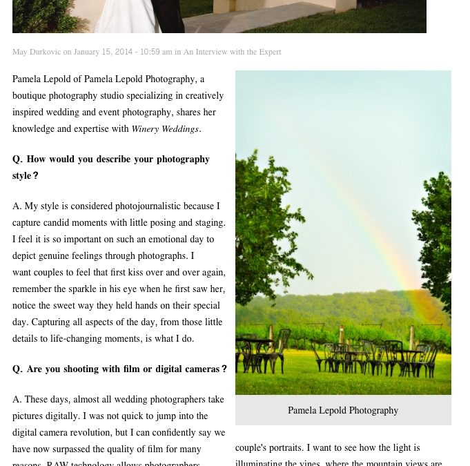 Interview with Winery Weddings Magazine